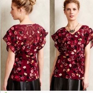 Anthropologie Meadow Rue Rose Garden Blouse S EUC